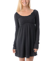 Billabong Girls Benny Charcoal Grey Long Sleeve Dress