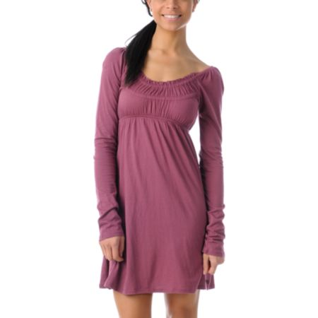 Billabong Girls Benny Crushed Berry Long Sleeve Dress