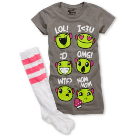 Bitter Sweet Emotimonster Girls Grey Tee Shirt & Sock Pack