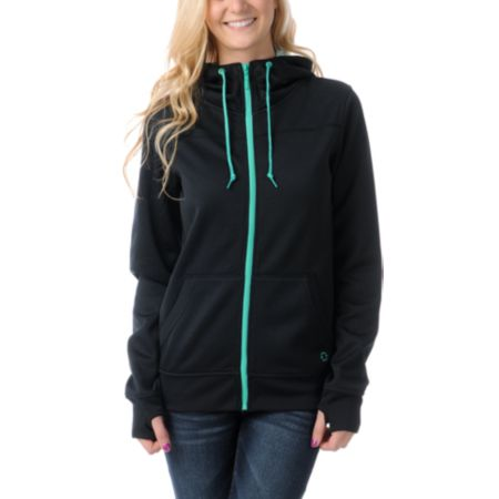 Empyre Girls Essential Black & Green Full Zip Tech Fleece Jacket