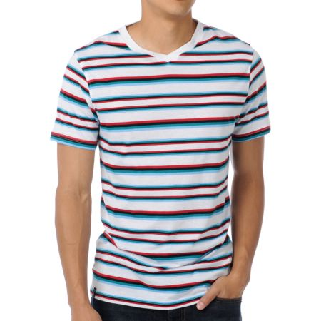 Empyre CMYK White Striped V-Neck Tee Shirt