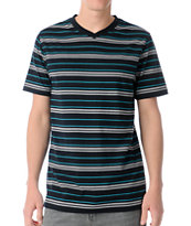 Empyre Barred Black Stripe V-Neck Tee Shirt