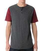 Dravus Home Run Charcoal & Red Henley Baseball Tee Shirt