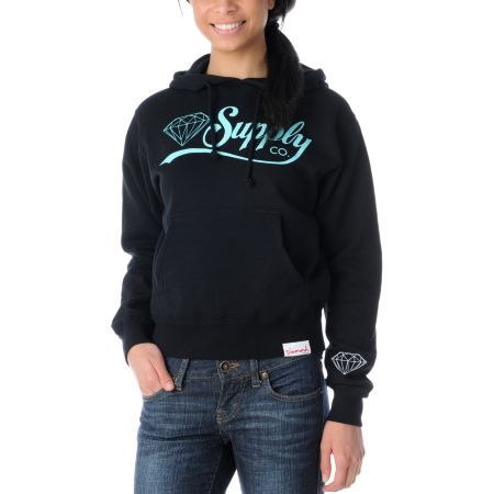 Diamond Supply Girls Diamondaire Black Pullover Hoodie