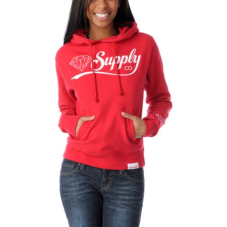 Diamond Supply Girls Diamondaire Red Pullover Hoodie