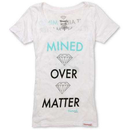 Diamond Supply Girls Mined Over Matter White Tee Shirt