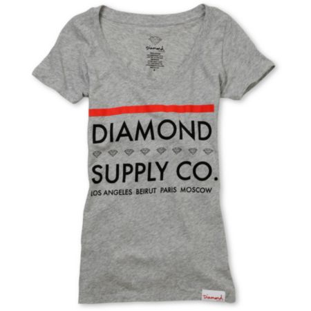 Diamond Supply Girls Roots Grey Scoop Neck Tee Shirt