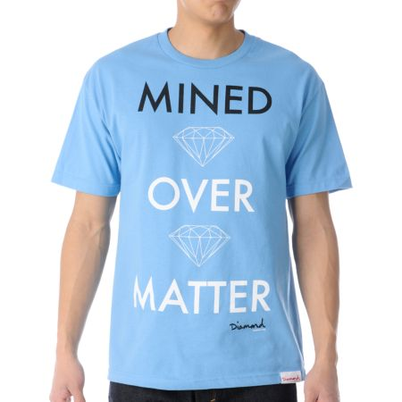 Diamond Supply Mined Over Matter Sky Blue Tee Shirt