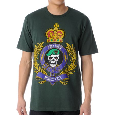 Obey Low And Behold Dark Green Tee Shirt
