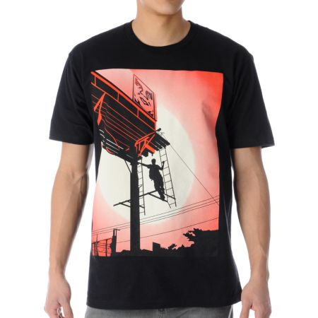 Obey Shepard Billboard Black Tee Shirt