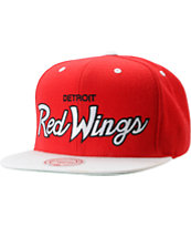 NHL Mitchell and Ness Detroit Red Wings Script Snapback Hat