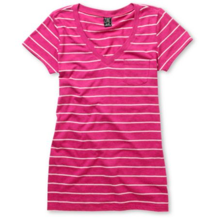 Zine Girls Iris Pink & White Striped V-Neck Tee Shirt
