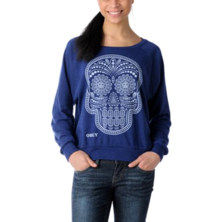 Obey Girls Day of the Dead Navy Raglan Boyfriend Top
