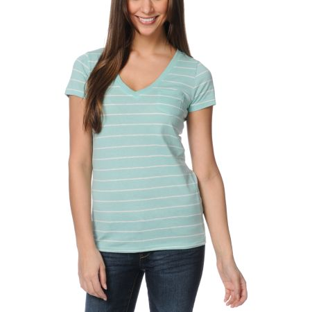 Zine Girls Pastel Green & White Striped V-Neck Tee Shirt