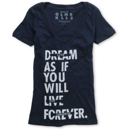 Glamour Kills Live Forever Tomorrow Blue V-Neck Tee Shirt