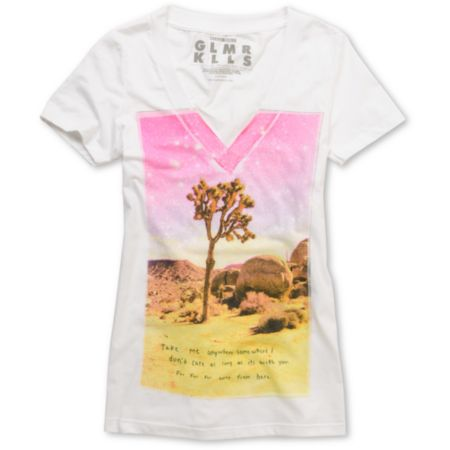 Glamour Kills Wandering Guild White V-Neck Tee Shirt