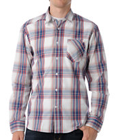 Volcom Ex Factor Blue & Red Plaid Long Sleeve Button Up Shirt