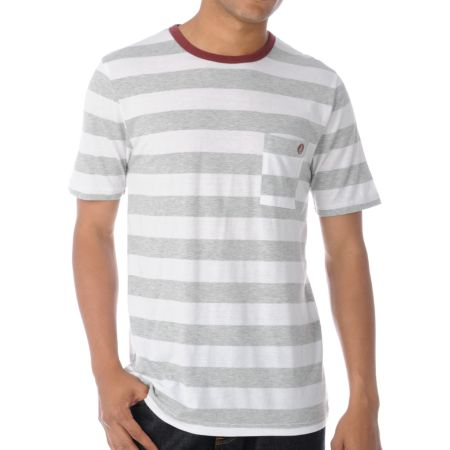 Volcom Othercircle White & Grey Stripe Tri-Blend Tee Shirt
