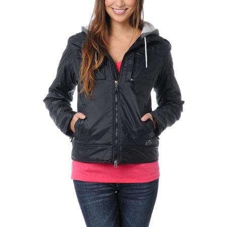 Nike Action Girls Pearl Black Hooded Jacket