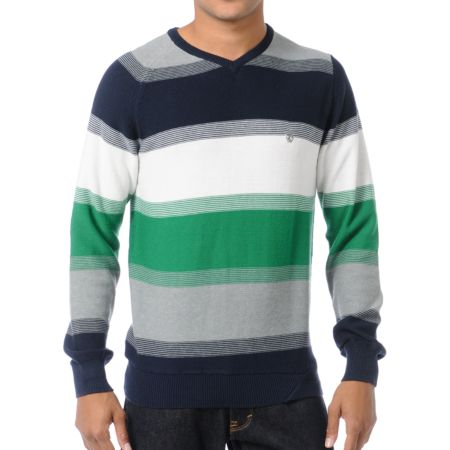 Volcom Standard Blue & Green Striped V-Neck Sweater