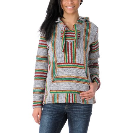 Senor Lopez Serape White & Rasta Girls Poncho
