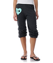 Young & Reckless Reckless Heart Charcoal & Turquoise Girls Sweatpants