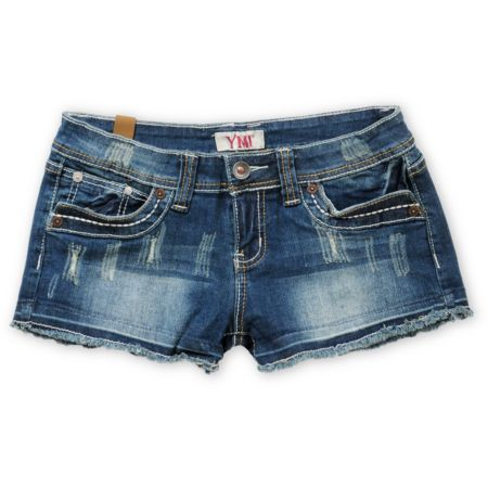 YMI Girls Bree 2.5 Denim Cut Off Shorts