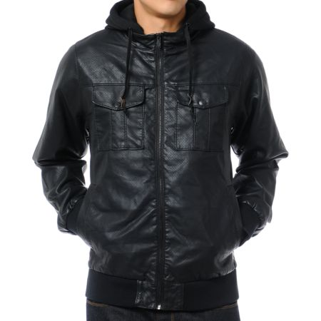 Dravus Heartbreaker Black Perforated Faux Leather Jacket