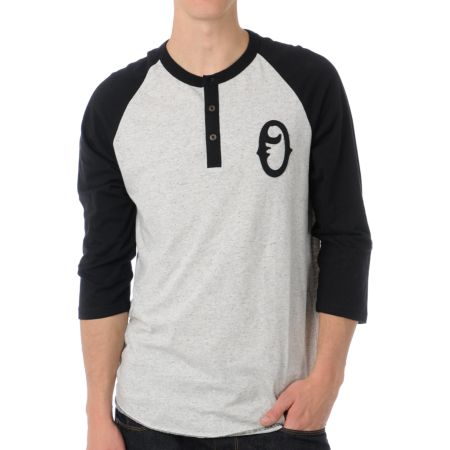 Obey Loaded Heather Grey Henley Baseball Tee Shirt