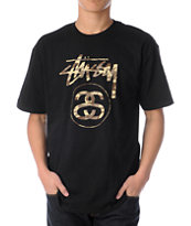 Stussy Stock Link Black & Camo Tee Shirt