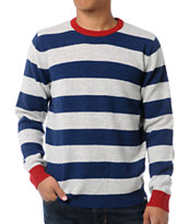 Stussy Fat Stripe 2 Red, White & Blue Crew Neck Sweater
