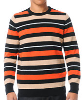 Stussy Country Stripe Black & Orange & Tan Crew Neck Sweater
