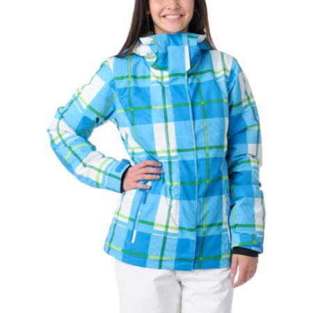 Roxy Aster Blue & Green Plaid Insulated Girls Snowboard Jacket