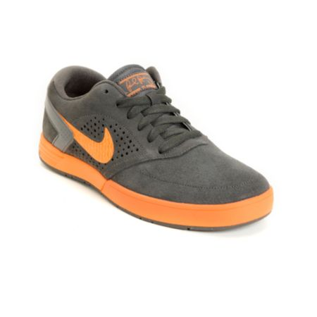 Nike SB P-Rod 6 LR Lunarlon Fog Grey & Total Orange Skate Shoe