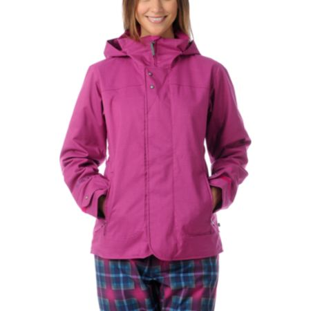 Burton Jet Set Pink Plaid 10K Girls Snowboard Jacket