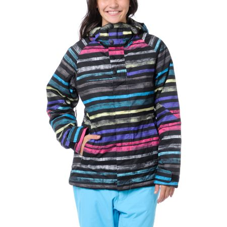 Burton Girls Method Black Palette Stripe 10K 2013 Snowboard Jacket