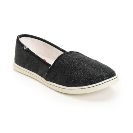 Roxy Pier Fur Black Glitter Slip On Shoe
