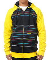 Volcom Doz Black & Yellow Guys Hydro Zip Tech Fleece Jacket