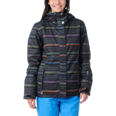 Roxy Jetty Neon Stripe 8K Insulated Girls Snowboard Jacket