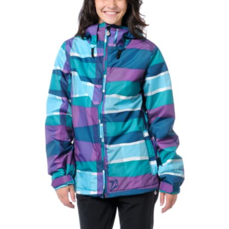 Volcom Girls Threat 5k Blue & Purple Stripe 2013 Snowboard Jacket