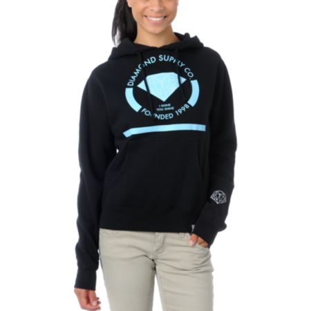 Diamond Supply Girls I Shine You Shine Black Pullover Hoodie