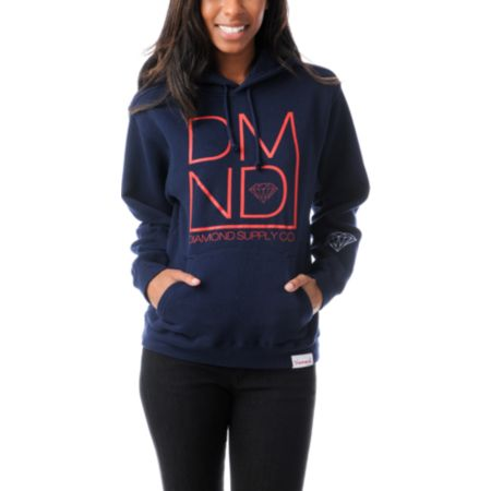 Diamond Supply Girls DMND Navy Blue Pullover Hoodie