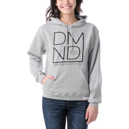 Diamond Supply Girls DMND Heather Grey Pullover Hoodie