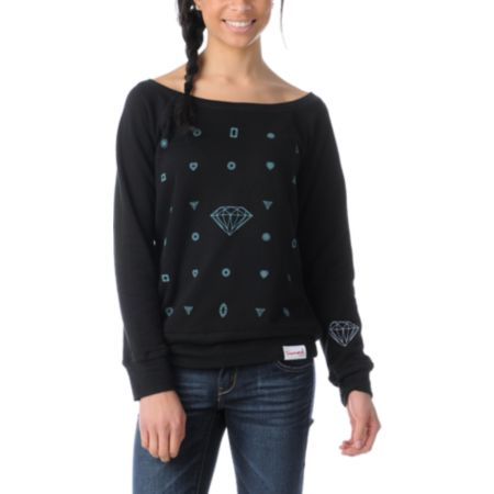 Diamond Supply Girls Many Diamonds Black Crew Neck Sweatshirt