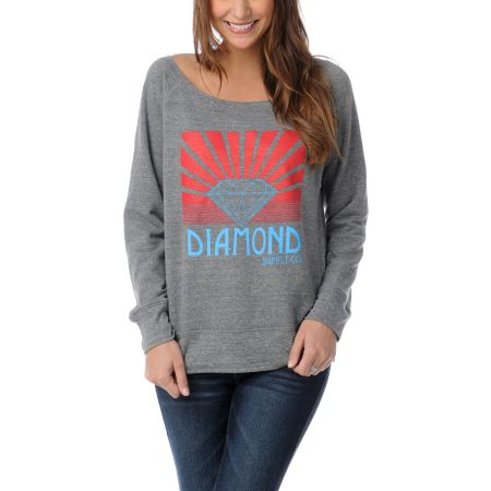 Diamond Supply Girls Shining Heather Grey Crew Neck Sweatshirt