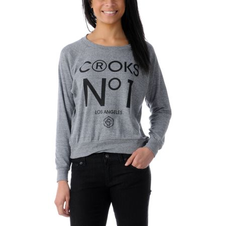 Crooks and Castles No. 1 Heather Grey Boyfriend Raglan Top