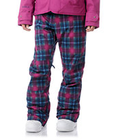 Burton Society 2013 Hex Radiant Plaid 10K Girls Snowboard Pants
