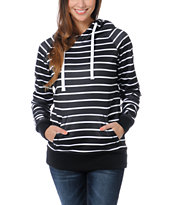 Empyre Girls Frosty Black & White Stripe Pullover Tech Fleece Jacket