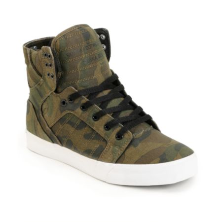 Supra Skytop Green Camo Canvas Skate Shoe