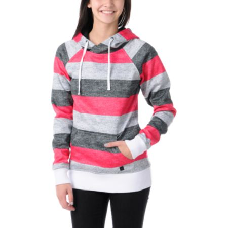 Empyre Girls Frosty Black, Pink & White Pullover Tech Fleece Jacket